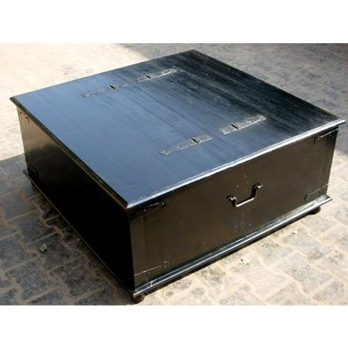 Square Coffee Table With Storage: Casual Square Rosewood Black Storage Box Trunk Chest