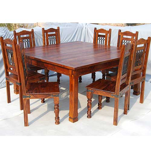 solid wood 9pc square kitchen dining room table 8