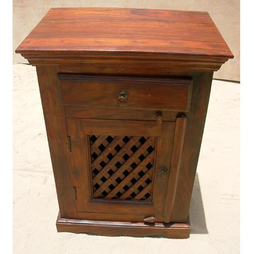 1S. Solid Bed Side End Storage Table Cabinet wood lattice