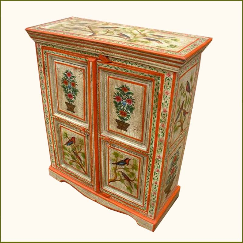 1F. Hand Painted Garden Song Birds Armoire Cabinet storage chest painting