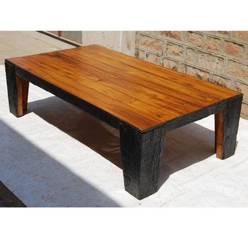 Reclaimed wood large cocktail sofa rustic coffee table for Rustic oversized coffee table