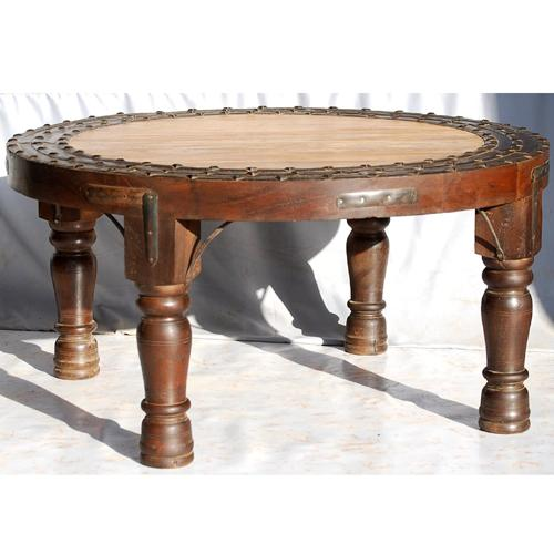 1P. Round Antique Vintage Wood Coffee Cocktail Sofa Table