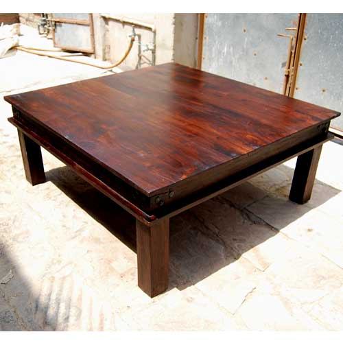 Rustic Large Square Coffee Table Solid Wood Cocktail Table Furniture