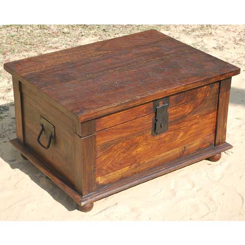 Rustic Primitive Solid Wood Storage Box Trunk Coffee Table W Wrought Iron New Ebay