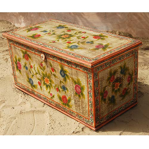 Wood Floral Hand Painted Storage Box Trunk Coffee Cocktail