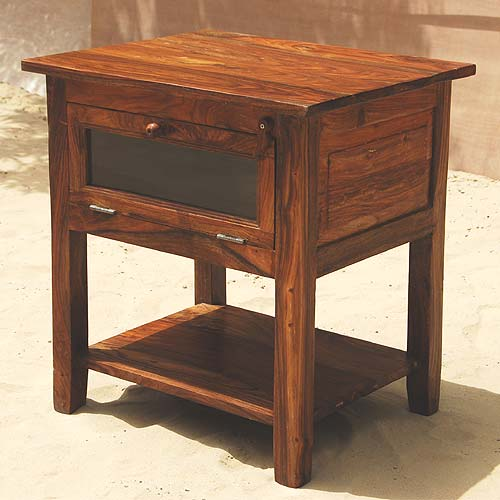 1V. Solid Wood 2 Way Open Side End Table Plant Night Stand