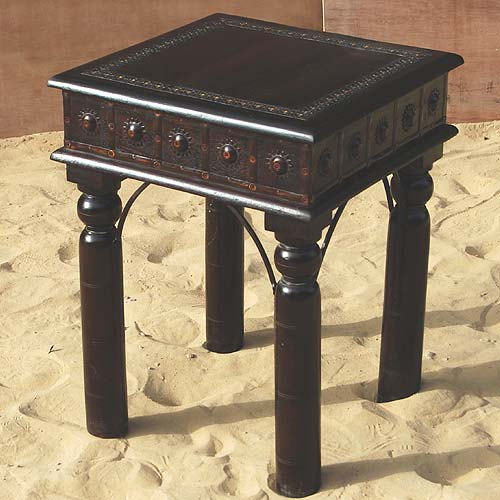 1B. Rustic Wood Hand Made Iron Work Square Side End Table
