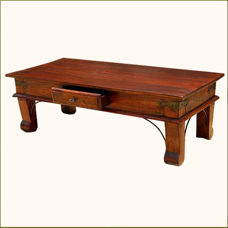 Rustic solid wood handmade storage drawer sofa coffee for Solid wood coffee table