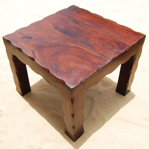 1H. Solid Wood Unique Square Wood Bed Side End Table Stand