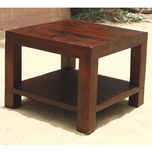 Mahogany mango wood square bedroom side end table for Bedroom side table