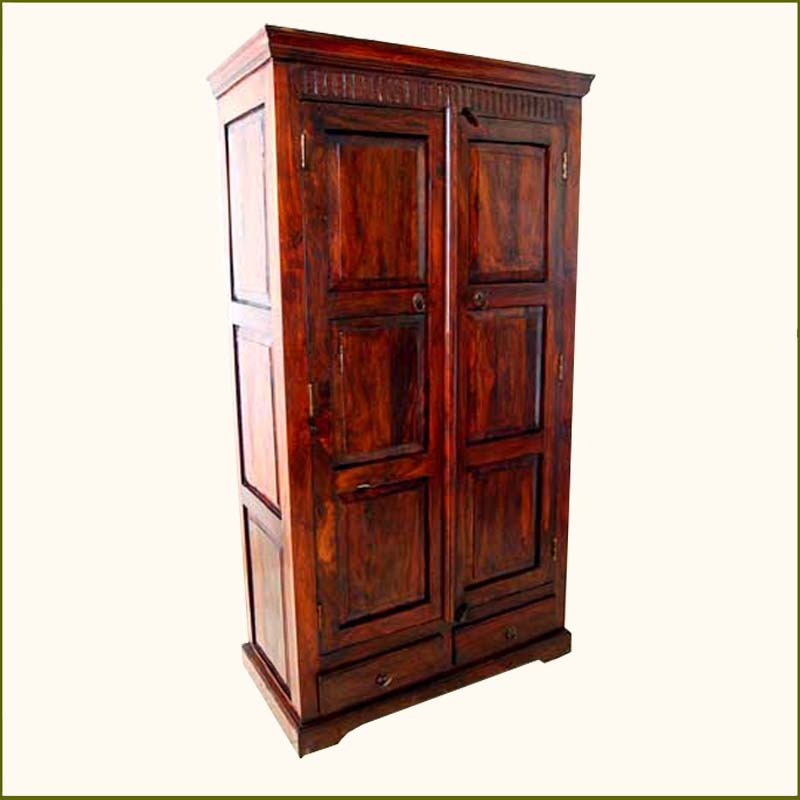 1B. Rustic Wood 2 Storage Drawers Armoire Wardrobe Closet