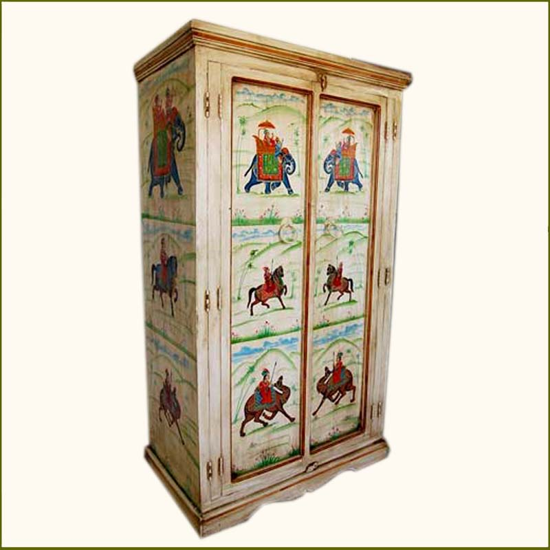 1B. Wood Storage Heritage Hand Painted Armoire Furniture