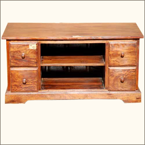 Rustic Solid Wood Tv Stand Media Storage Cabinet