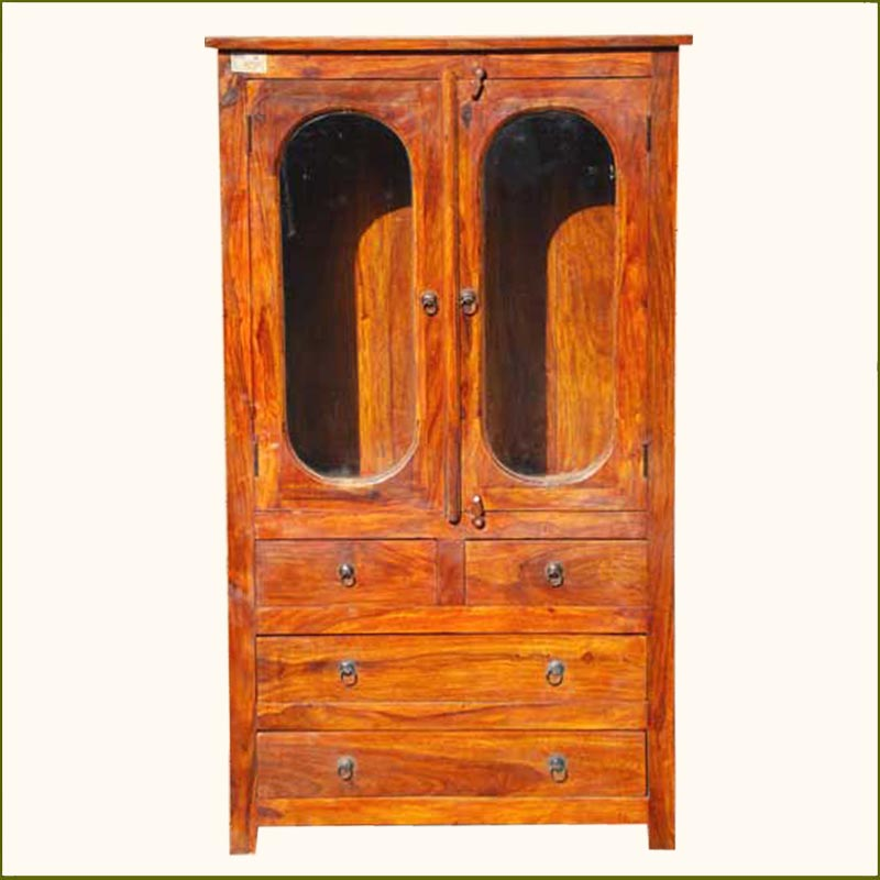 1N. Rustic Wood Storage Armoire Wardrobe Bedroom Furniture
