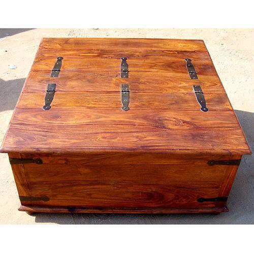 Large Rustic Square Storage Chest Trunk Wood Blanket Box Oversized Coffee Table Ebay