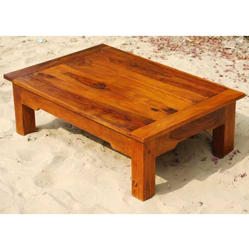 Low height solid wood sofa cocktail accent coffee table for Low coffee table wood