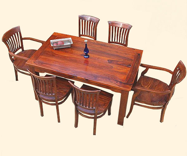 Kitchen Table With 6 Chairs: Solid Wood 7 Pc Formal Kitchen Dining Table & 6 Side Arm