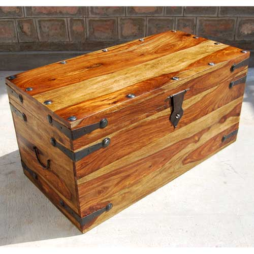 Large Solid Wood Storage Toy Box Chest Trunk Coffee Table Furniture Wrought Iron Ebay