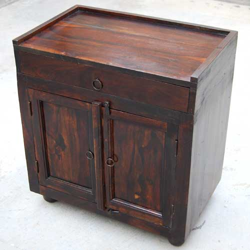 1D. Espresso Wood Storage Drawer Kitchen Cabinet Side Table