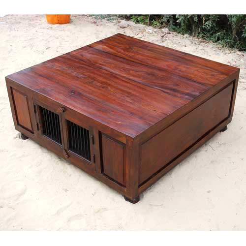 Solid wood rustic large square storage trunk cocktail for Large wood coffee table square