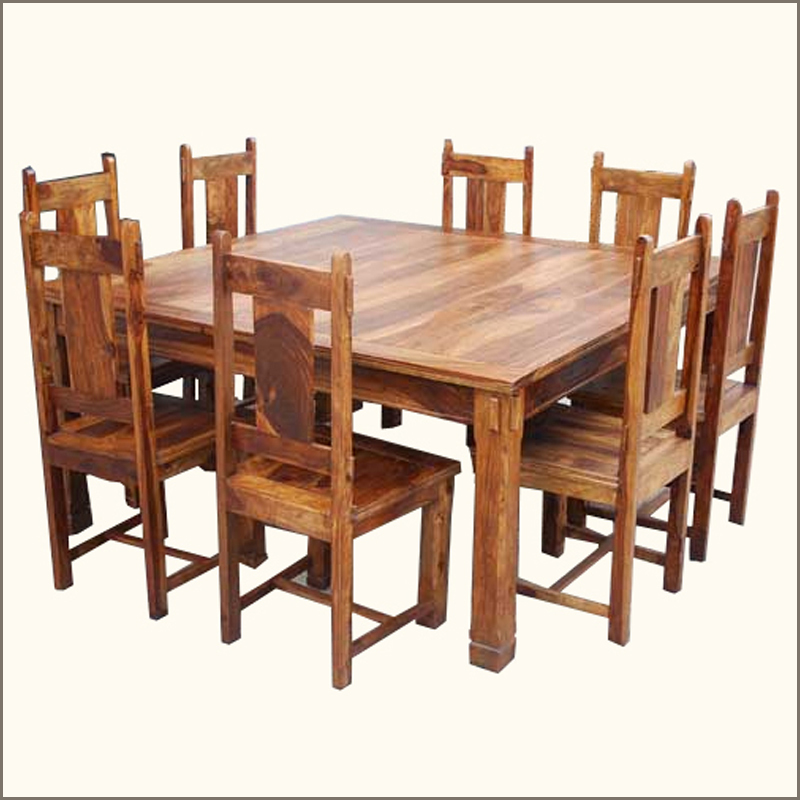 64 square dining table 8 chairs set rustic wood furniture for Square dining table for 8