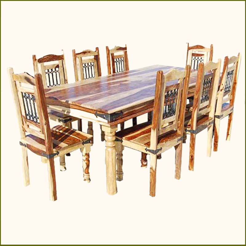 Rustic 9pc dining room table chairs set furniture w wrought iron for 8 people ebay Dining table and bench set