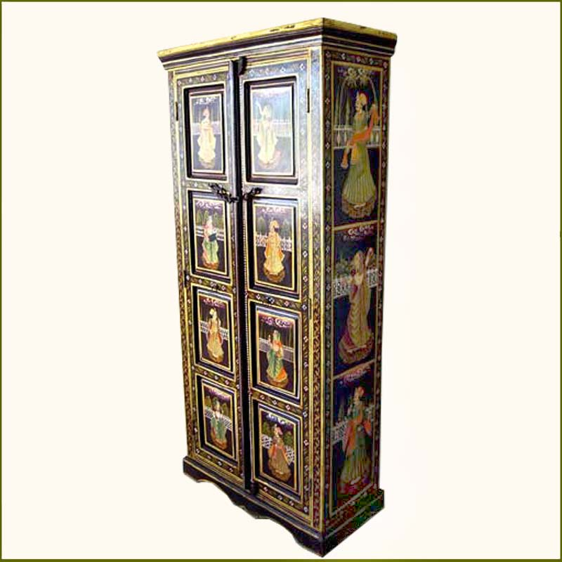 1A. Beautiful Ethnic Wood Storage Hand Painted Armoire Closet Furniture