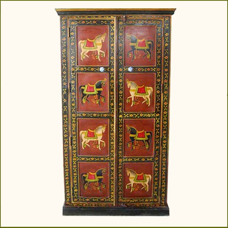 1E. Solid Wood Heritage Style Hand Painted Wardrobe Closet