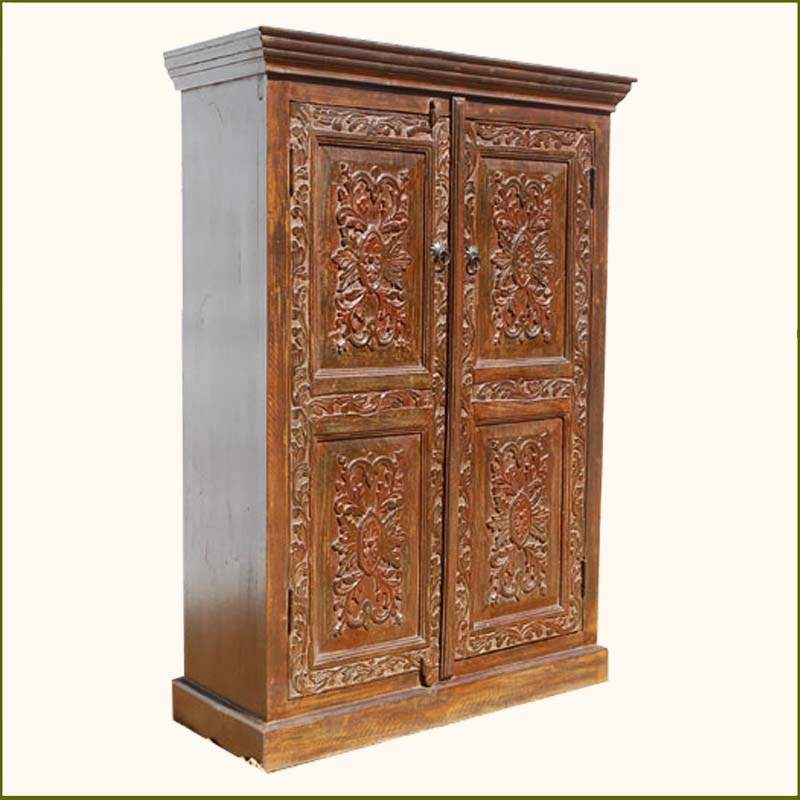 Wood Hand Carved Storage Armoire Clothes Wardrobe Closet W 3 Shelves Furniture Ebay