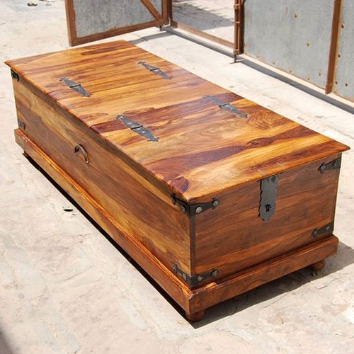 60 Inch Rustic Solid Wood Storage Coffee Table Hope