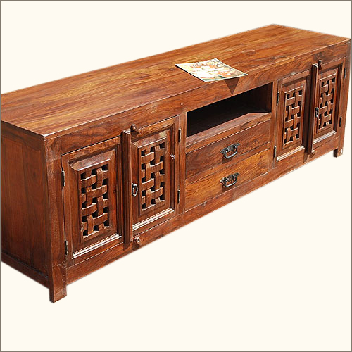 Solid wood traditional rustic media console tv stand