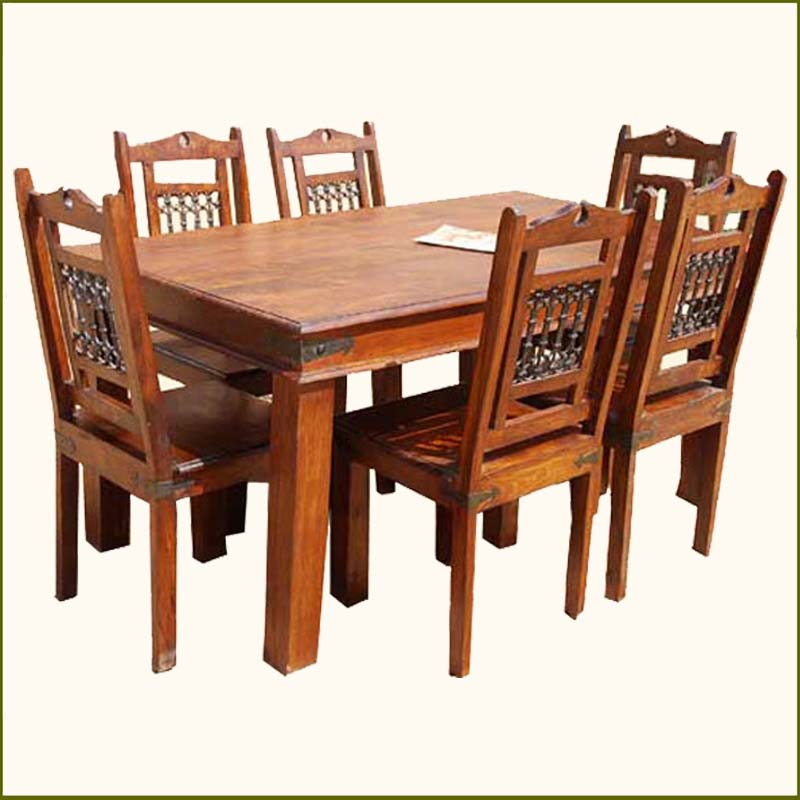Solid Wood Transitional Dining Table And Chairs Set: Solid Wood Rustic Dining Table & 6 Chairs Set Furniture W