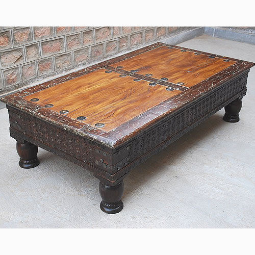 1B. Rustic Reclaimed Wood Carved Cocktail Sofa Rare Coffee Table