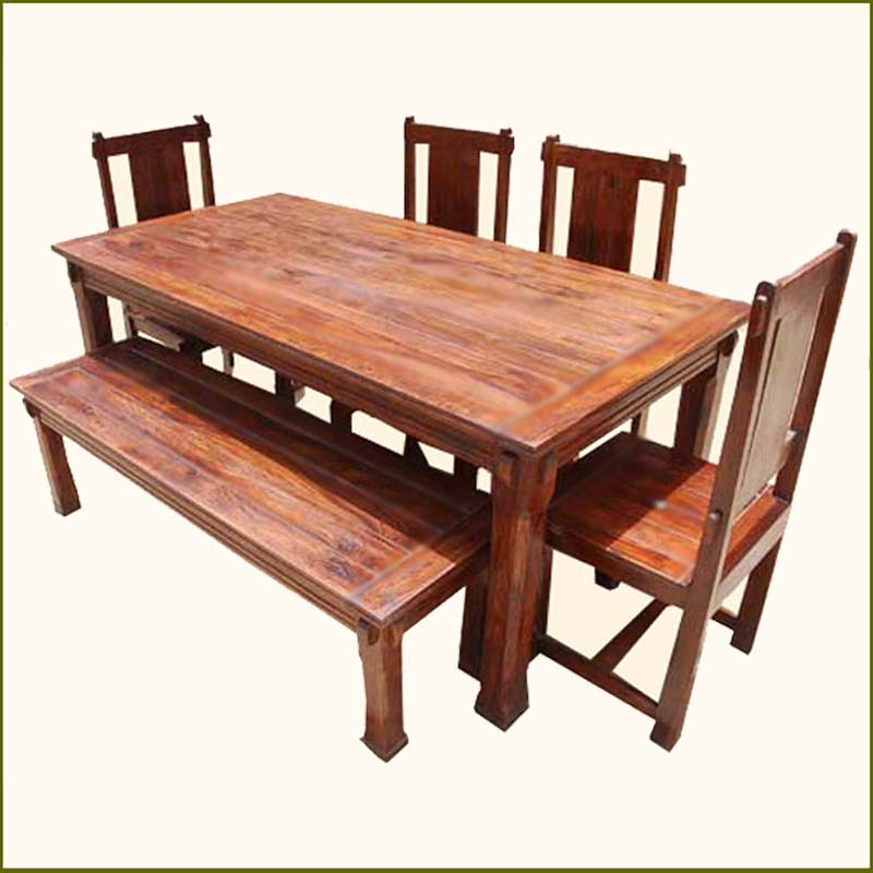 Dining Tables Benches: Solid Hardwood Rustic Dining Room Table & Chairs Set