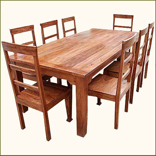 Large Dining Room Set: Rustic 8 Person Large Kitchen Dining Table Solid Wood 9 Pc