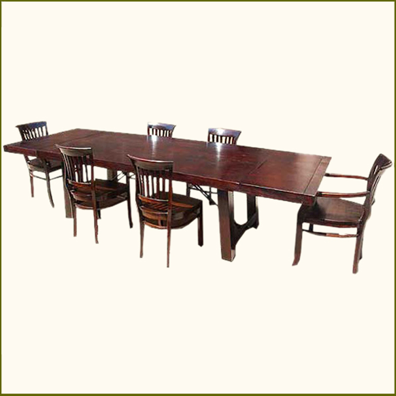 wood 7 pc large dining table chairs set w extension rustic furniture
