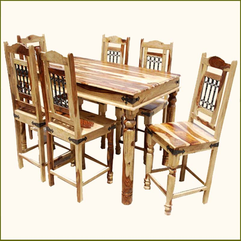 Counter Height Pub Wood Dining Room Table 6 Person Chairs Set W Iron