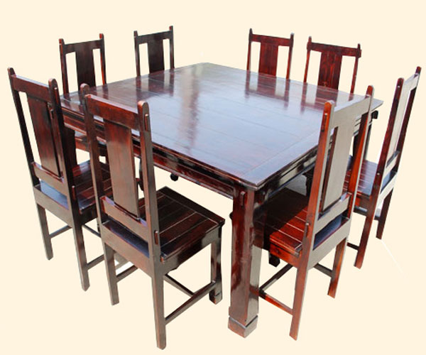 Cherry Kitchen Table And Chairs: Cherry 9 Pc Square Wood Dining Kitchen Table And Mission