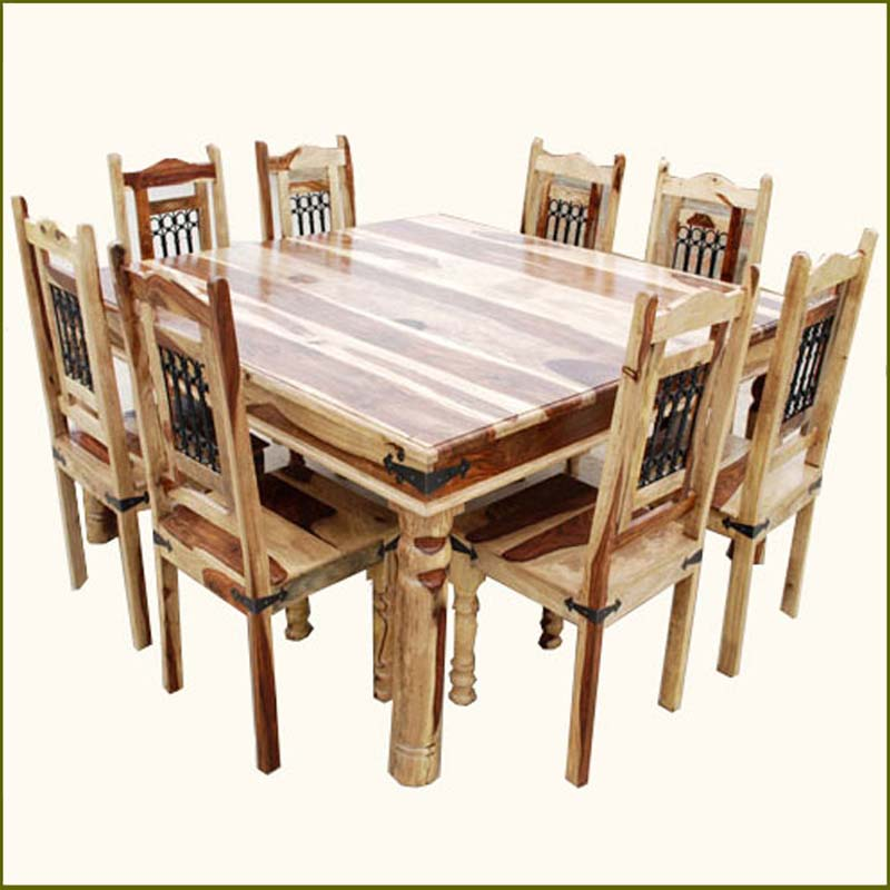 Square Dining Table With Bench: 9 PC Square Dining Table And 8 Chairs Set Rustic Solid