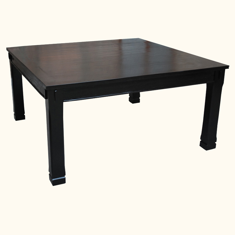 Rustic Square Dining Table For 8 Seater Black Solid Wood Furniture