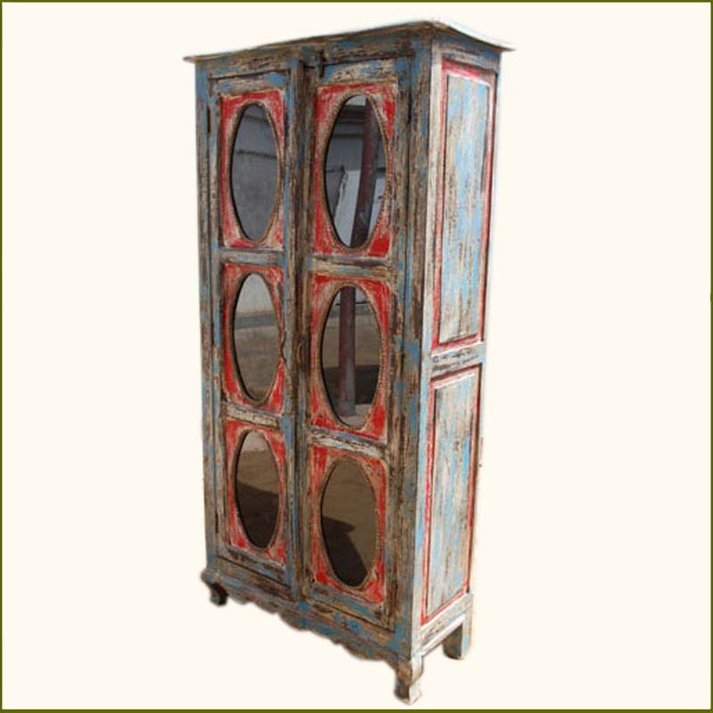 1B. Distressed Multi-color Painted Armoire Cabinet