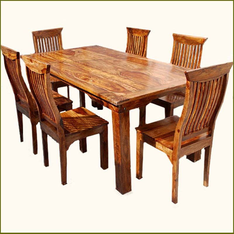 Kitchen Table With 6 Chairs: Rustic 7 Pc Kitchen Dining Table 6 People Chairs Set Solid