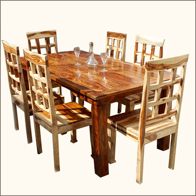 Contemporary 7pc solid wood custom dining room table chair for Dining room table 6 person
