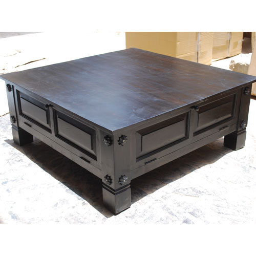 Black Square Solid Wood Storage Cocktail Coffee Table