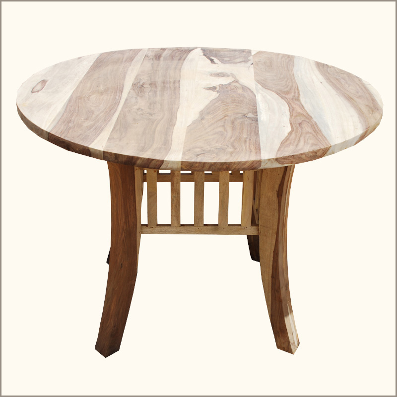 sierra unfinished rustic wood 4 seater round dining dinette table