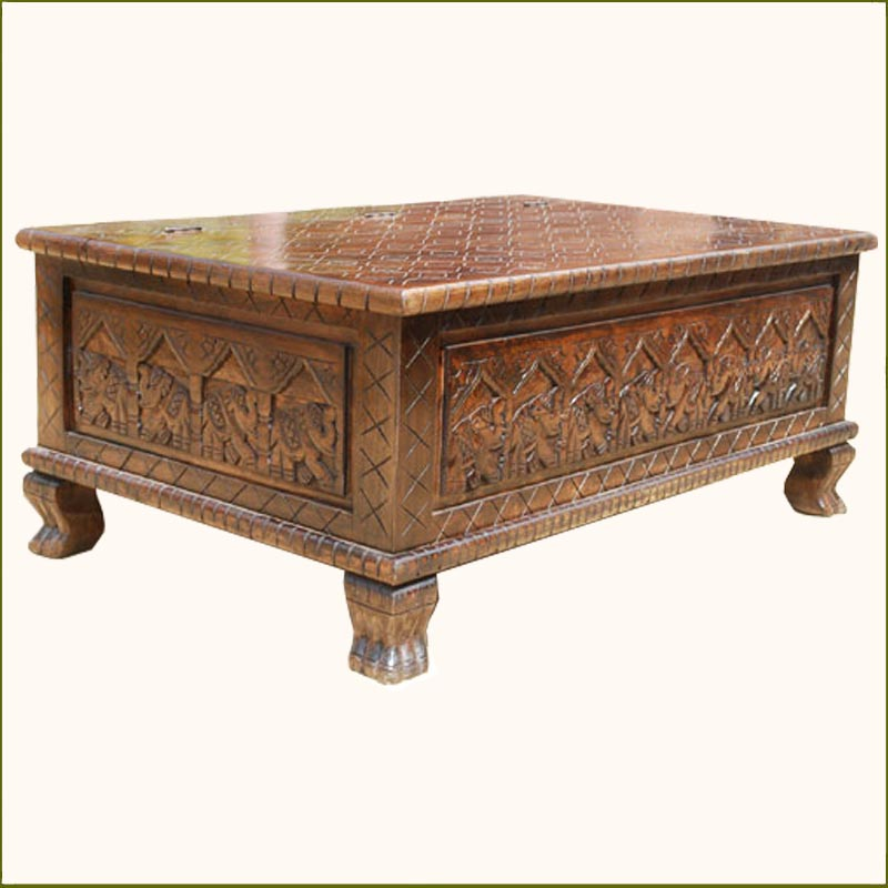 Wood elephant hand carved storage box trunk chest coffee table furniture ebay Hand carved coffee table