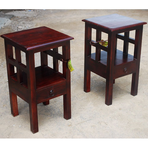 1U. Oklahoma Farmhouse Mahogany Box End Table Set