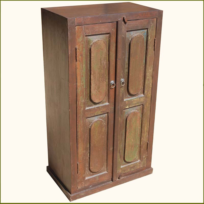 Furniture Wood Wardrobe Closet ~ Rustic wooden door storage primitive armoire wardrobe