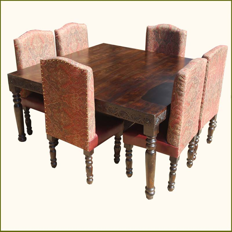 1E. Nottingham Transitional Leather 7Pc Square Table Dining Set