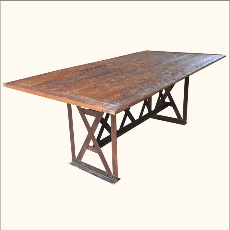 Rustic Industrial Teak Wood Wrought Iron Large 78 Quot Dining Room Table Furniture Ebay